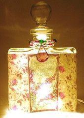 #9 Shabby Roses Perfume Bottle Nightlight ( Night Light ) - Roses And Teacups  - 1