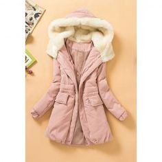 Casual Style Fleece Hooded Long Sleeve Cotton Padded Coat For Women