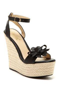 Elegant Footwear Laysia Flower Platform Wedge by Shoe Madness on @HauteLook