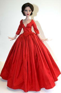 "Outlander Claire Red Silk Dress for 16"" Deja Vu Dolls Tonner #DesignsbyJude"