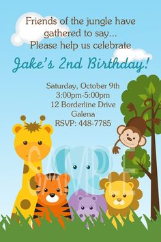 Jungle Animals Monkey Safari Theme Birthday or Baby Shower Invitations. $12.00, via Etsy.  awww for baby Thors 1st bday :D