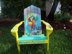 Tropical Adirondack Chair Handcrafted Hand Painted Livin' On Island Time Parrot…