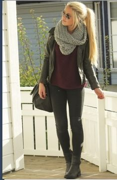 Cute fall outfit. moto jacket and knit infinity scarf