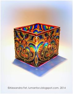 Art by Alexandra Fet: Small vase | Hand painted stained glass.