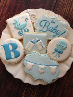 Blue for Boy decorated cookies for baby shower. The onesies on the laundry… Baby Boy Cookies, Cookies For Kids, Fancy Cookies, Baby Shower Cookies, Iced Cookies, Cute Cookies, Royal Icing Cookies, Cookies Et Biscuits, Sugar Cookies