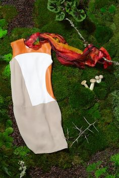 RAOUL color block leather dress in pumpkin & khaki, $495. ME & KASHMIERE serenity print scarf, $175.