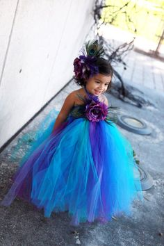 tutu...gorgeous color combo along with the peacock feathers!!!