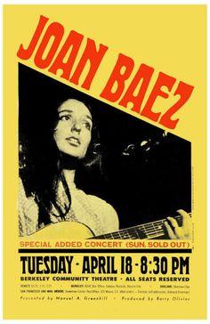 Joan Baez at Berkeley concert poster, 1967
