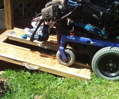 Quite frequently it is necessary to transport a set of portable ramps to allow my wheelchair to get into homes and shops. In the past, I've tried to use store- bought manufactured ramps made of aluminum. These store-bought ramps were very expensive and did not work well for my electric wheelchair as they were primarily designed for lighter manual wheelchairs. The store-bought ramps were too narrow for the wheels on a power wheelchair, and the weight of the wheelchair ...