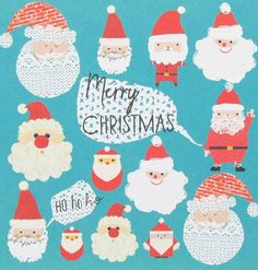 large charity santa heads cards - pack of 8 from Paperchase Merry Little Christmas, Christmas Design, Winter Christmas, Christmas Holidays, Christmas Things, Christmas Poster, Childrens Christmas, Christmas Characters, Christmas Illustration