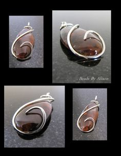 "Mexican Flame Agate sterling silver pendant with 16""/40cm silver chain. Gemstone & Cabochon Shop - Beads By Alison"