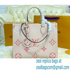 Louis Vuitton Monogram Empreinte Leather OnTheGo MM Tote Bag Bouton de Rose Pink By The Pool Capsule Collection 2021