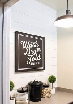 Vintage Style Wash Dry and Fold Sign