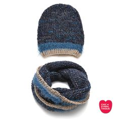 La Laine Bonnet - Snood Blue Beige - Chic Sympathique