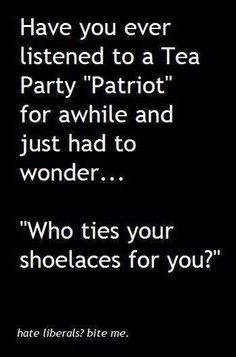 Yes. Every time Sara Palin, Michele Bachman, Ted Cruz and the rest of those Lunatic Teabags open their mouths....I wonder who the hell ties your shoes!