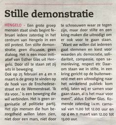 Hengelo's Weekblad 21/02/2017 #stil #Stilte #verbinding #voor #beweging !!! geen organisatie of politieke partij !!! Een groep bezorgde mensen #demonstratie #Hengelo