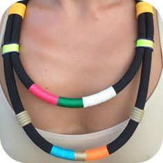 ~Black-rope ethnic necklace with multicolor  threads~