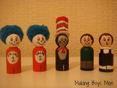 Making Boys Men: Cat in the hat peg dolls