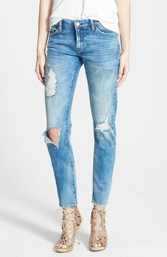 BLANKNYC 'Good Vibes' Distressed Skinny Jeans (Medium Wash Blue) from nordstrom - From the raw-edge pocket trims and shredded knees to heavy whiskering and a smudgy allover fade, these skinny jeans come alive with boldly distressed style.