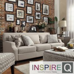 Inspire Q Ellyson Light Grey Fabric Sloped Track Arm Sofa | Overstock.com Shopping - Great Deals on INSPIRE Q Sofas & Loveseats