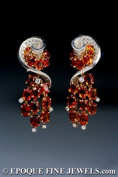 Wow!! Diamond and citrine earrings by Bournadet for Marchak. Paris, circa 1951