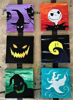 Join Create It in Donelson as they create this unique tribute to The Nightmare before Christmas You will paint 3 8 x 8 canvases using stencils and your preferred color scheme Halloween Canvas Paintings, Small Canvas Paintings, Easy Canvas Art, Small Canvas Art, Easy Canvas Painting, Halloween Painting, Mini Canvas Art, Halloween Art, Halloween Witches