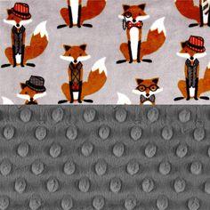 Personalized Baby Blanket Boy  Fox Animal Minky Baby Blanket