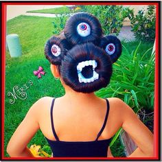 Monster hairstyle - this is so fun and clever! It would be perfect for Halloween or crazy hair day at school!