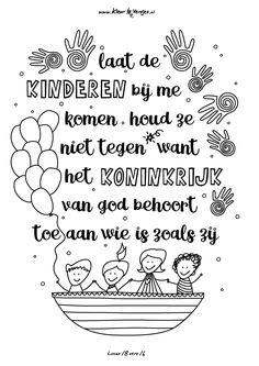 Lucas 18 vers 14, laat de kinderen bij komen! Print en kleur!
