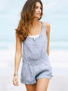 beach linen short jumpsuit