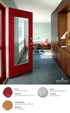 The drama of red is heightened further when used on a contemporary door.