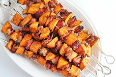 Sweet potato fries have met their match in bacon. These sweet and savory skewers can be thrown together in a pinch if you're strapped for time, and the recipe calls for ingredients that most of us already have on hand during the holidays. Plus, the skewers make for a fun presentation.
