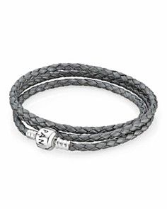 PANDORA Bracelet - Silver Leather Triple Wrap. I want this in black!