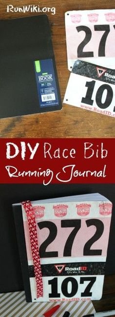 Not sure what to do with old race bibs ? Try up-cycling them with this Easy DIY Running Journal or Planner. Writing down your dreams, goals and daily training is the best way to go after that pr in your half marathon, 5K or 10K. Great Christmas gift for runners. Fitness| running tips| beginners | motivation