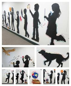 Our silhouette mural is finished! It went pretty quickly once we got started. Each of the figures represents different subject areas at school. Students in grades 4-6 did most of the painting and I ha
