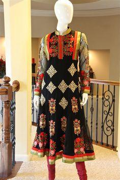 SALE> Black Multi Resham-work Anarkali. Up to 50% off Anarkali Dress, Lehenga, Saree, Shalwar Kameez, Indian Outfits, Indian Fashion, Cold Shoulder Dress, Gowns, Suits