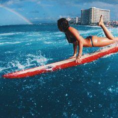 bikinis that stay on when you want to do this...#ELLEMERswimwear :: Sport. Swimwear. Hawaii.