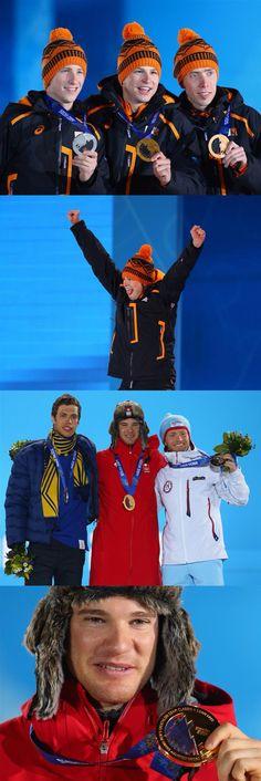 Sochi 2014 Day 3 / Medal Ceremony / (L-R) Silver medalist Jan Blokhuijsen of the Netherlands, gold medalist Sven Kramer of the Netherlands and bronze medalist Jorrit Bergsma of the Netherlands celebrate during the medal ceremony for the Men's 5000m Speed Skating,  (L-R) Silver medalist Marcus Hellner of Sweden, gold medalist Dario Cologna of Switzerland and bronze medalist Martin Johnsrud Sundby of Norway pose on the podium during the medal ceremony for the Men's Skiathlon 15 km Classic + 15…