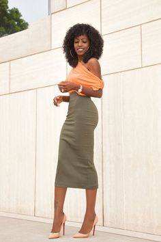 Off Shoulder Blouse x Military Pencil Skirt