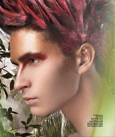 Maquiagem Artística | Artistic Makeup #16: Red artistic makeup for man | Maquiagem artística vermelha para homem.