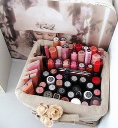 Cool Makeup Storage Ideas. neat to see that I'm not the only one that thought of putting my lipsticks upside down to read the colors!