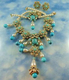 Stanley Hagler N.Y.C. Turquoise & Faux Pearl Floral Parure