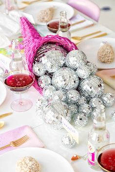 Disco Cornucopia - Unique Ways To Decorate Your Thanksgiving Table - Photos Thanksgiving Diy, Thanksgiving Table Settings, Thanksgiving Decorations, Table Decorations, Centerpieces, Disco Party, Disco Ball, Disco Disco, Nye Party