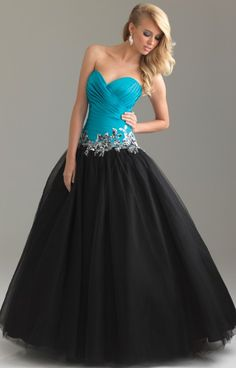 Night Moves 6434 - Turquoise and black evening gown