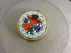 Vintage Italian Mosaic Floral Etched Goldtone by LehightonGold, $19.99