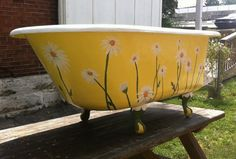 Antique Footed Tub Yellow Daisy Vintage Claw Foot Bathub Country Wedding Drink Station Farm Daisies 1933 Informations About Your place to buy and sell all things handmade Pin You can … Old Bathtub, Clawfoot Bathtub, Tub Paint, Outdoor Tub, Retro Renovation, Wheelbarrow, My New Room, Claws, Antiques