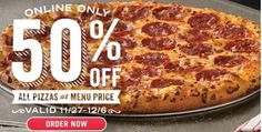 Check out this awesome deal at Domino's! Get 50% off all menu-priced pizza orders placed online for 10 days straight now through Sunday, Dec. 6, 2015. You can use any computer or phone with their iPad®, iPhone®, Android™, Windows Phone 8, or Kindle Fire® apps. Cyber Monday is about finding deals from your couch, so …