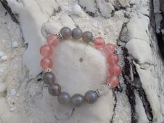 Handmade bracelet made of natural Cherry quartz and by LadyArtRali