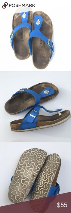 Birkenstock Gizeh Flip Flop in Blue Cobalt blue Gizeh flip flop by Birkenstock. Comfortable and great shoes for daily use. A European size 37 fits sizes 6-6.5 in U.S according to the Birkenstock size chart. Birkenstock Shoes Sandals
