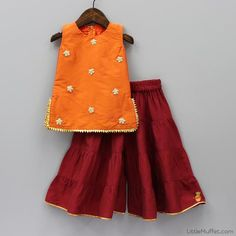 Pre Order: Red Palazzo With Orange Top. WhatsApp to order on Baby Girl Party Dresses, Kids Outfits Girls, Little Girl Dresses, Girl Outfits, Girls Dresses, Baby Frocks Designs, Kids Frocks Design, Fashion Kids, Kids Dress Wear